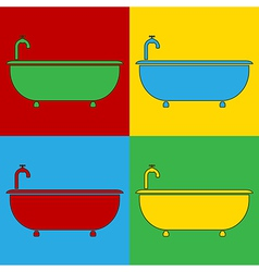 Pop art bathtub icons vector