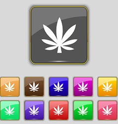 Cannabis leaf icon sign set with eleven colored vector