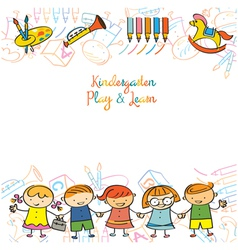 Kindergarten kids and playground frame vector