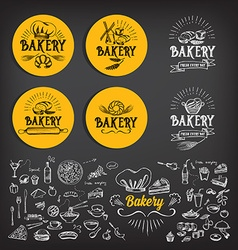 Bakery icon design menu badge vintage vector