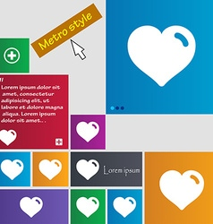 Heart love icon sign metro style buttons modern vector