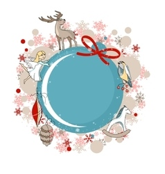 Round blue frame with christmas decor vector