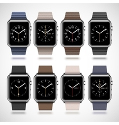 Set of 8 modern shiny smart watches vector