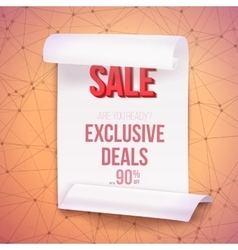Big sale paper ribbon banner on wireframe vector