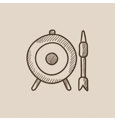 Target board and arrow sketch icon vector