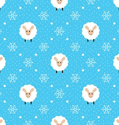Blue seamless pattern with cute sheep and vector