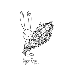 Cute little rabbit with a bouquet vector