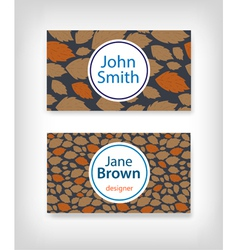 Business card design with fallen leaves vector image vector image