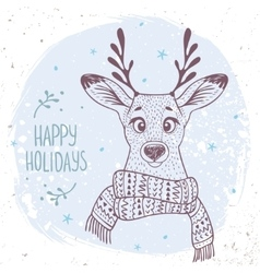 Deer with a scarf vector