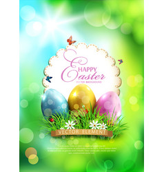 easter background with eggs grass and round card vector image vector image
