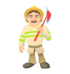 Firefighter with axe icon cartoon style vector