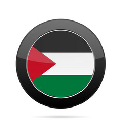 Flag of palestine shiny black round button vector