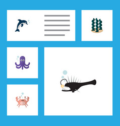 flat icon sea set of fish cancer playful fish vector image vector image