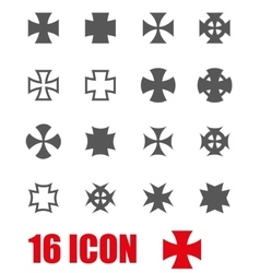 Grey choppers crosses icon set vector