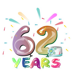 happy birthday sixty two year vector image vector image
