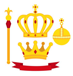 Heraldic symbols monarch set royal traditions vector