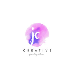 jc watercolor letter logo design with purple vector image vector image
