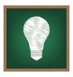 Light lamp sign white chalk effect on green vector