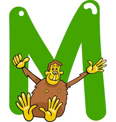 M for monkey vector image
