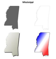 Mississippi outline map set vector