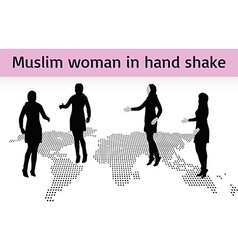 Muslim woman silhouette in hand shake pose vector
