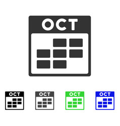 October calendar grid flat icon vector