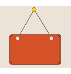 Painted orange blank sign hanging on a rope vector