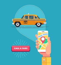 Public taxi service retro yellow taxicab vector