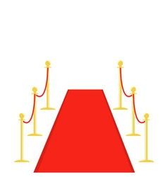 Red carpet and rope barrier golden stanchions vector image