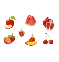 red fruits collection isolated over white vector image vector image