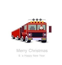 Santa claus driving truck christmas card vector