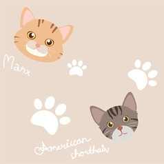 seamless cute cat and paw light brown pattern vector image vector image