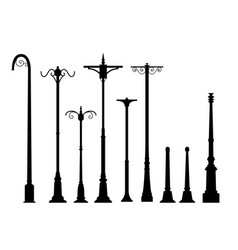 Set of modern lamp post in flat style vector