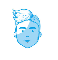 Silhouette nice fece man with hairstyle vector