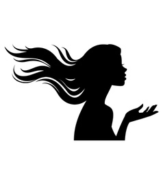Silhouette of beautiful girl in profile with long vector image vector image