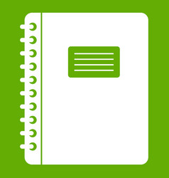 spiral notepad icon green vector image vector image