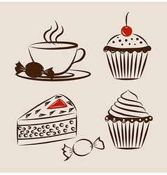 Sweet pastry set with cup of hot drink vector image
