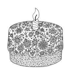 Zen tangle and doodle floral pie zendoodle cake vector