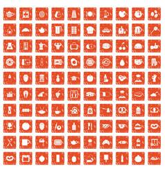 100 breakfast icons set grunge orange vector