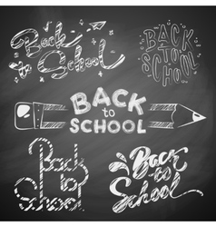 back to school on blackboard vector image