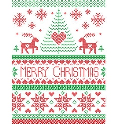 Tall merry Xmas pattern with reindeer green red vector image