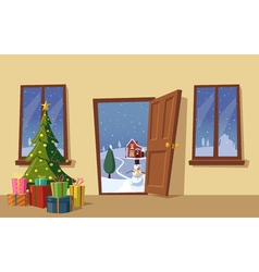 Open door christmas tree cartoon vector