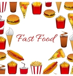 Fast food dishes and takeaway drinks poster vector