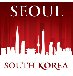 seoul south korea city skyline silhouette red vector image