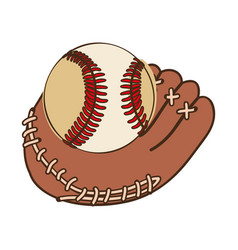 Silhouette color with baseball glove and ball vector