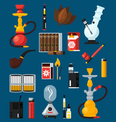 Smoking flat colored icons set vector