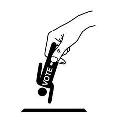 hand put man sign with word vote into the box vector image
