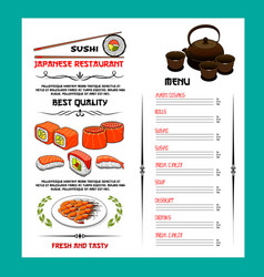 Sushi menu template of japanese cuisine restaurant vector