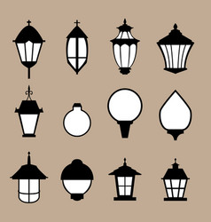 Set of modern lamp in flat style isolated vector