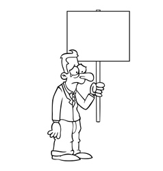 Black and white sad business man with protest sign vector image